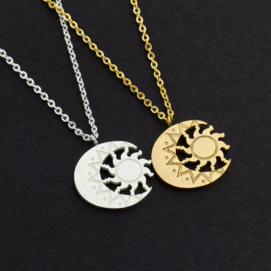 14k Gold Silver Over Solid Stainless Steel  Antique Moon Sun Charm Astrology Tattoo Necklace
