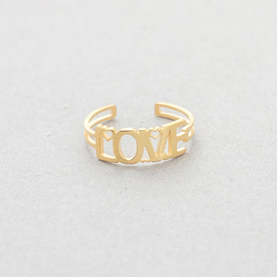 18k Gold .925 Silver Over Stainless Steel Resizeable LOVE Promise Rings