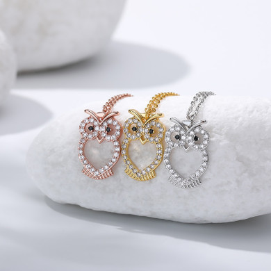 18k Gold Silver Rose Gold Stainless Steel Crystal Vintage Owl Bling Pendant Necklace