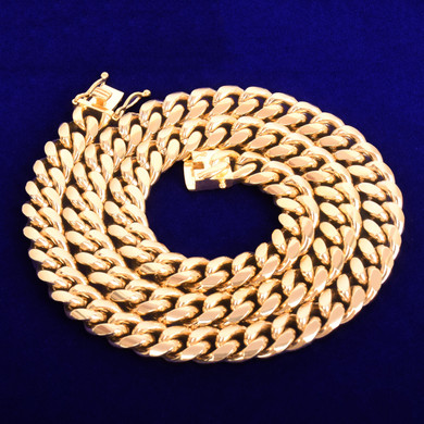 24k Gold Over Solid Stainless Steel 12mm Miami Cuban Link Hip Hop Chain Necklace