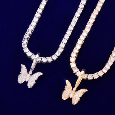 18k Gold Rose Gold .925 Silver Small Butterfly Bling Bling Pendant Chain Necklace