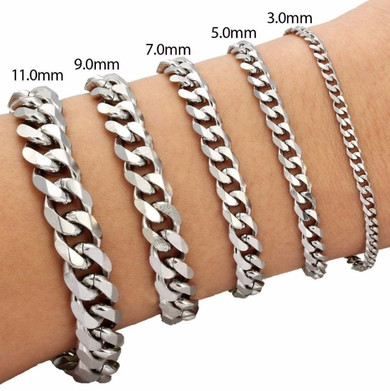 14k Gold Silver Black Stainless Steel Cuban Link Bracelets