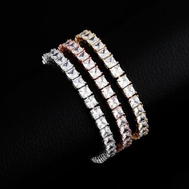 Flooded Ice 6mm Baguette Princess Cut 14k Gold 925 Silver Rose Gold Hip Hop Bracelet