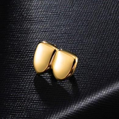 Hip Hop Double Caps Gold Rose Gold Silver Two Teeth Grillz
