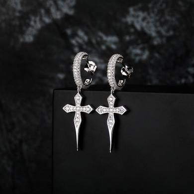 Solid 925 Sterling Silver 14k Gold Dagger Cross Huggie Hoop Hip Hop Style Bling Earrings