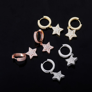 Hip Hop 5 Point Super Star Hoop Huggie 14k Gold Rose Gold 925 Silver Bling Earrings