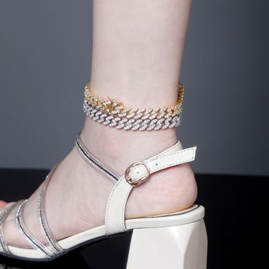 9mm 14k Gold 925 Silver Cuban Link Prong Set Stone Bling Anklet Ankle Bracelet
