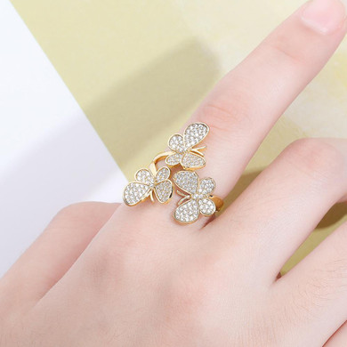AAA Cluster Stone 14k Gold 925 Silver Rose Gold  Adjustable Butterfly Rings