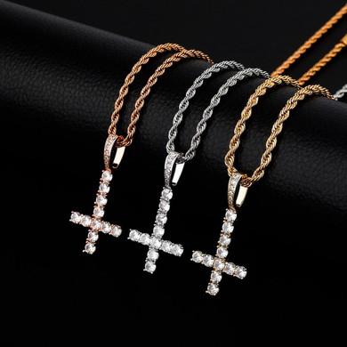 Mens Rose Gold 14k 925 Silver Cluster Stone Upside Down Single Peter Cross Pendant
