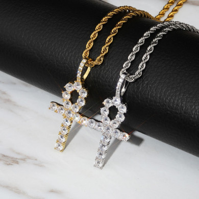 Key Of Life 925 Sterling Silver Iced Ankh Cross Egyptian Pendant Necklace