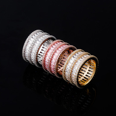 Flooded Ice Double Stack 2 Row Baguette Hip Hop Rings