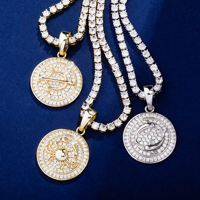 14k Gold Rose Gold .925 Silver Constellations Astrology Simulate Diamond Bling Pendants