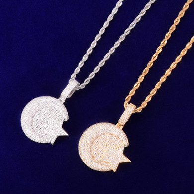 18k Gold 925 Silver Iconic Crescent Moon Star Baguette Flooded Ice Bling Pendant