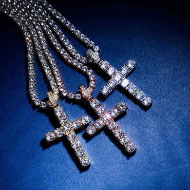 Flooded Ice High Quality Original Classic Hip Hop Cross Pendant Chain Necklace