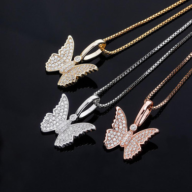 Ladies 925 Sterling Silver Bling Bling Delicate Butterfly Pendant Chain Necklace