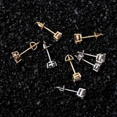 3mm - 5mm Iced 0.1-0.5 Carat Moissanite Bling Earrings