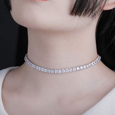 6mm Flooded Ice Princess Cut Square Choker Chain Necklace New Design