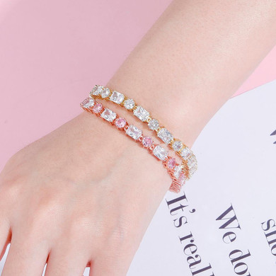 Ladies Silver Pink High Quality Square Round 6mm Fashion Bling Baguette Bracelet