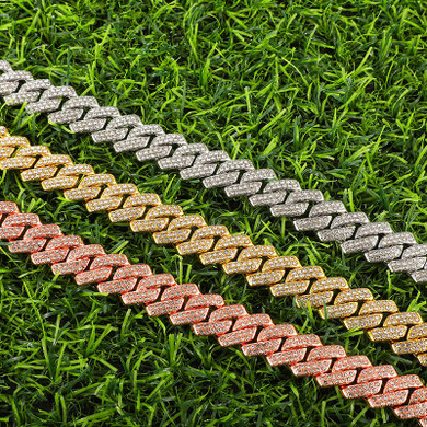 Flooded Ice AAA+ 13.5MM Micro Pave Cuban Link Chain 2 Row Bracelet Jewelry Set