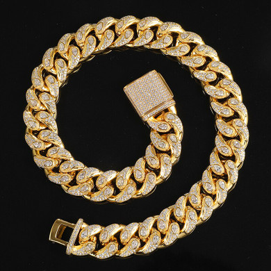 Hip Hop 20MM Flooded Ice Flower Drop Box Buckle Cuban Link Chain Necklace