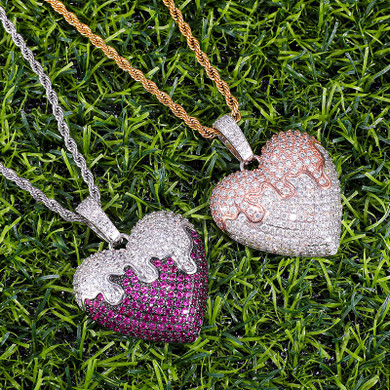 Flooded Ice Covered Heart Solid Back Hip Hop Pendant Chain Necklace