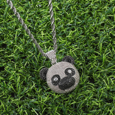 Hip Hop Flooded Ice AAA Stone Panda Bear Bling Pendant Chain Necklace