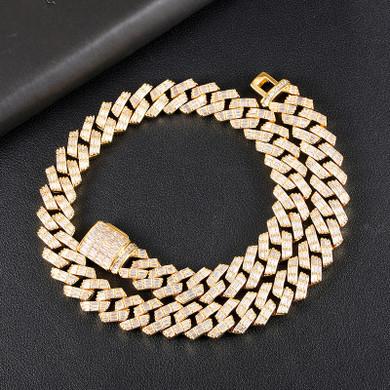 Bust Down 3 Row Baguette Ice Crazy Hip Hop 15MM Cuban Link Chain Necklace