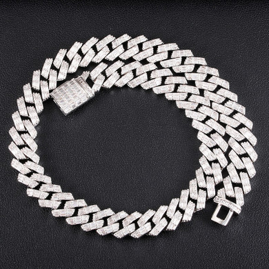 Bust Down 3 Row Baguette Ice Crazy Hip Hop 15MM 18 Inch Cuban Link Chain Necklace