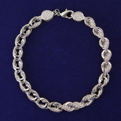 925 Silver 9mm Flooded Ice AAA Stone Rope Link Hip Hop Bracelet