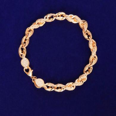 24k Gold 9mm Flooded Ice AAA Stone Rope Link Hip Hop Bracelet
