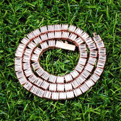 All Square Baguette Hip Hop 6MM Tennis Style Designer Link Chain Necklace