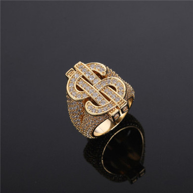 14k Yellow White Gold Flooded Ice Cash Money Dollar Sign Hip Hop AAA Bling Rings