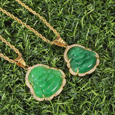 14k Gold over Titanium Steel Buddha Simulate Diamond Bling Pendant Chain Necklace