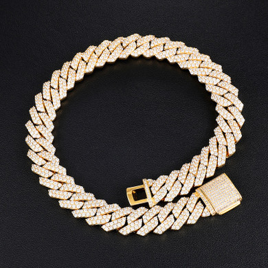 19MM 2 Row Flooded Ice Heavy Bling Miami Cuban Link Hip Hop Chain Necklace