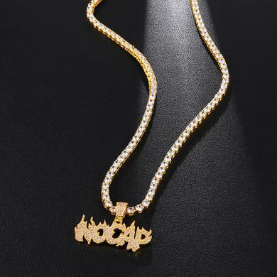 Hip Hop No Cap Micro Paved 14k White Yellow Gold Bling Pendant
