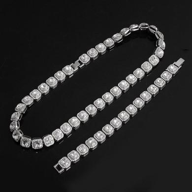 Hip Hop Big Boy 12mm Pave Prong Set AAA Center Stone Flooded Ice Chain Necklace Bracelet Set