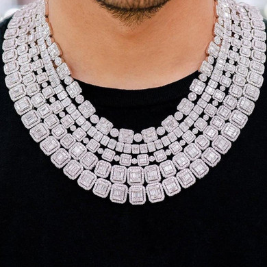 12mm Square Cut Center Stone Baguette High quality AAA Stone Hip Hop Chain Necklace