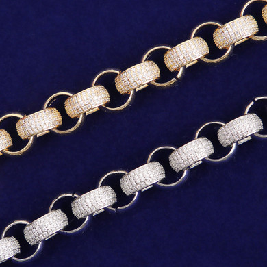 Flooded Ice 18k Gold .925 Silver 10mm Open Rolo Link Hip Hop Jewelry Chain Bracelet Set