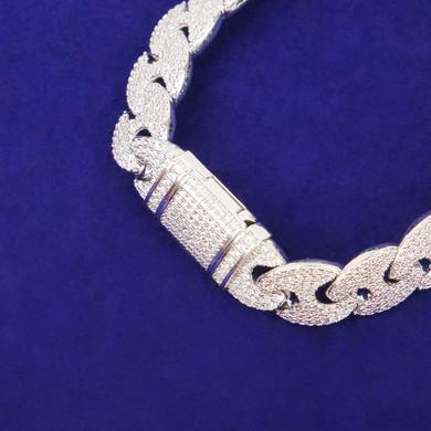 Mens Flooded Ice Street Wear Double GG Link Hip Hop Solid Back Bling Bracelet