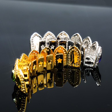 BLINGJEWELZ Crown Jewelz Flooded Ice Kings Grillz Hip Hop Mens Colorful Candy Mouth Teeth Grillz Set