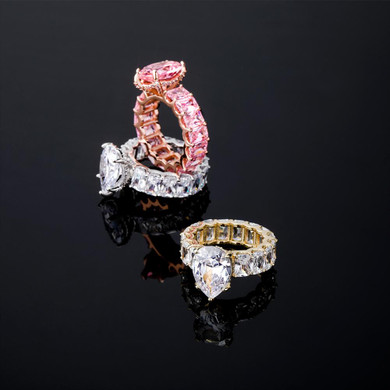 Ladies Tear Drop Street Wear Fashion Rose Gold 14k Silver Hip Hop Rings