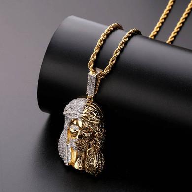 Mens Street Wear Religious Steam Punk Jesus Piece 14k Gold Hip Hop Pendant Chains