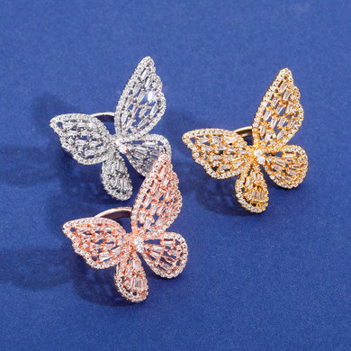 Ladies Bling Bling Adjustable 3D Butterfly Rose Gold 14k 925 Silver Ring