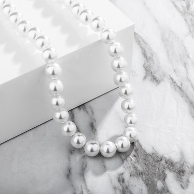 Ladies Classic Style Vintage Fashion Big Round White Faux Pearl Choker Chain Necklace