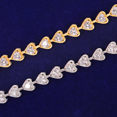 Ladies Ice Street Wear Casual Fashion Jewelry 6mm Big Heart Tennis Bracelet