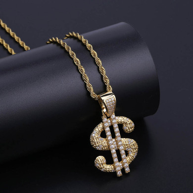 Mens Solid Big Dollar 14k Gold 925 Silver Street Wear Hip Hop Chain Necklace