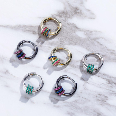 Ladies 13mm Round Mini Hoop 14k Silver Black Hematite High Quality bling Bling Earrings