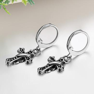 Ribbon Cross Dangle Hoop Huggie Style Stainless Steel Fashion Statement Earrings