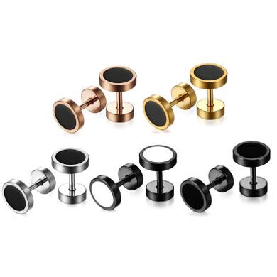 Stainless Steel Black / White Hole Round Stud Double Sided Street Wear Earrings