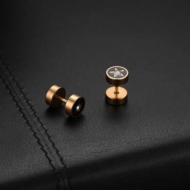 Stainless Steel Bling Street Wear Fashion 5 Star 14k Silver Black Earrings